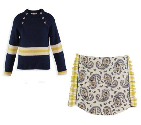 Girls Long sleeve sweater and bacterium print short set