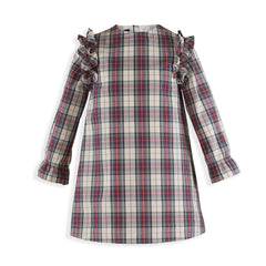 Girls green plaid and ruffle long sleeve dress