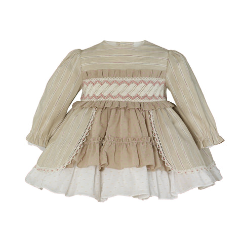 Baby girls long sleeve rose stripes and plumeti ruffle dress