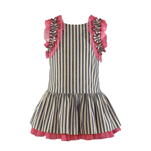 Girls stripes and lace ruffle dress