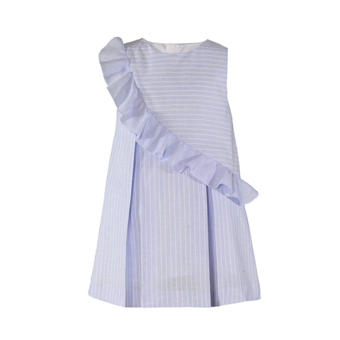 Girls stripes and side ruffle dress