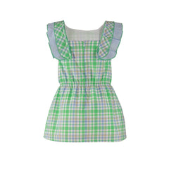 Girls green plaid and ruffle dress