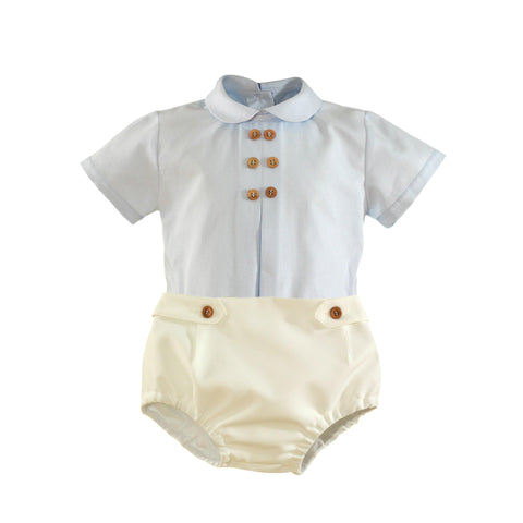 Baby boys peter pan collar and button details shirt set