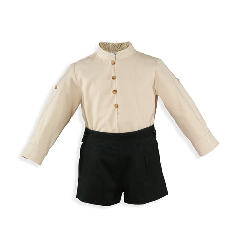 Baby Boys mao collar long sleeve shirt and green short pant