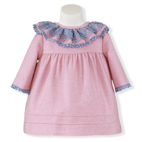Baby Girls long sleeve pink dress with grey lace collar
