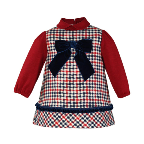 Baby girls crows feet and velvet bow red dress