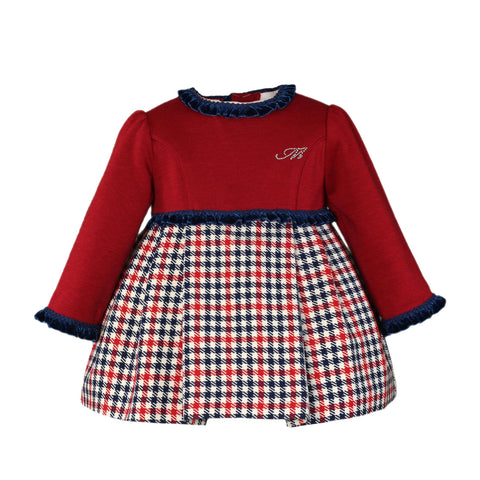 Baby girls crow's feet and velvet details red dress