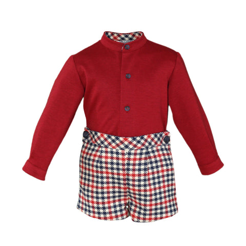 Baby boys crows feet short  with red mao collar shirt