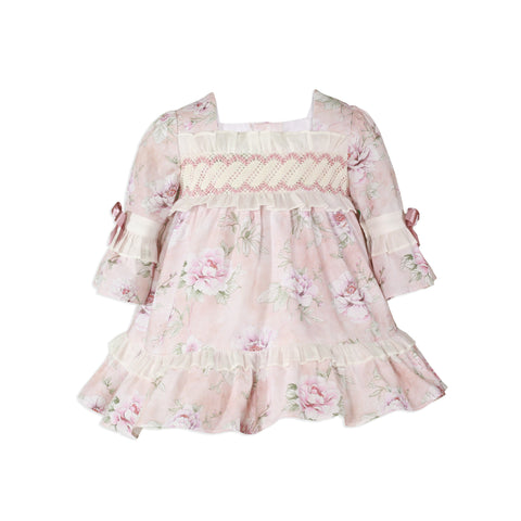 Baby girls pink floral dress