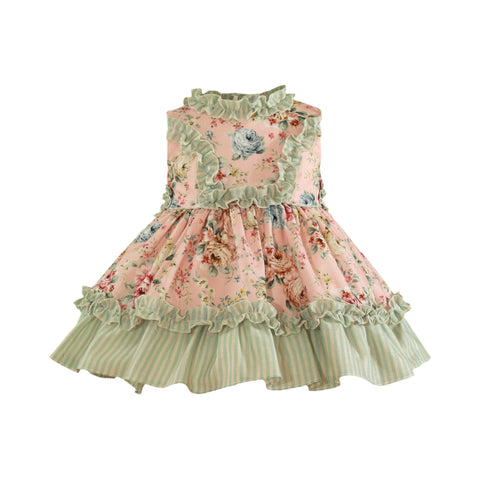 Baby girls floral and stripes print ruffles dress