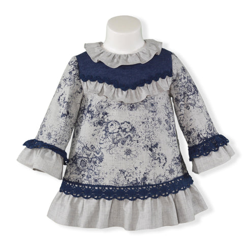 Baby Girls Blue flowers print dress