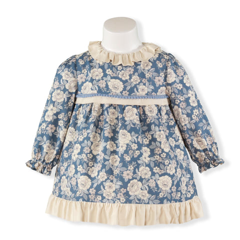 Baby girls flowers print  with ruffle collar dress
