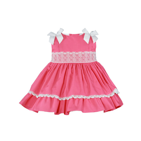 Baby girls coral and bows dress