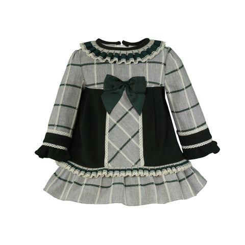 Baby girls plaid and ruffle collar long sleeve dress