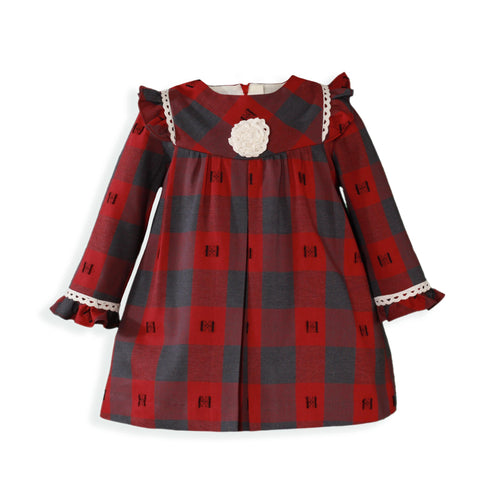 Baby girls grey and red  plaid long sleeve dress