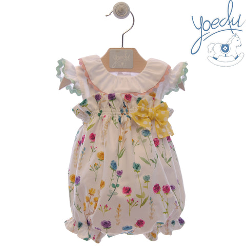 Baby girls floral print romper with white blouse set