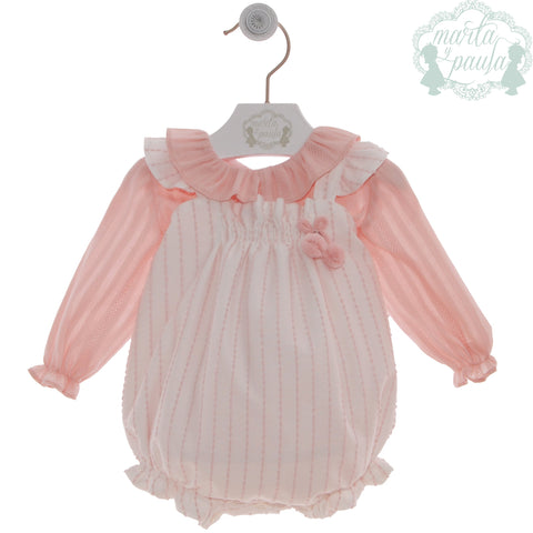 Baby girls plumeti romper with long sleeve peter pan collar shirt