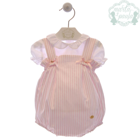 Baby girls stripes romper and peter pan collar shirt