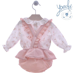 Baby girls enchanted garden print blouse with short pants and suspenders