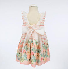 Girls striped and floral print with ruffle collar dress