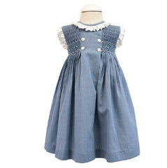 Girls smocked and polka dots ruffle classic dress