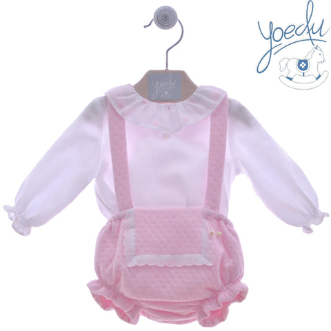 Baby girls pique braguita with suspender and peter pan collar with shirt