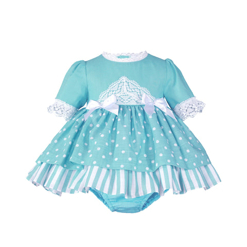 Baby girls stripes and polka dots dress with bloomer