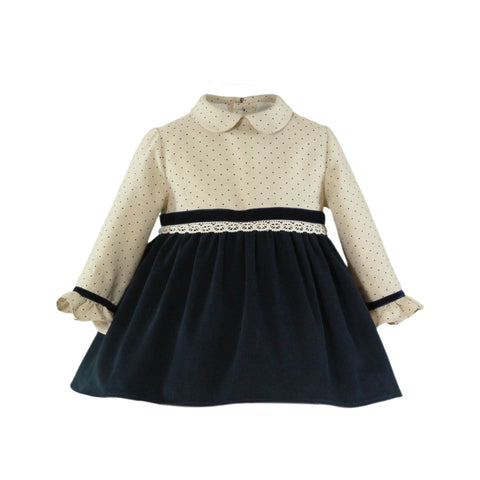 Baby girls polka dots and velvet blue marine long sleeve dress