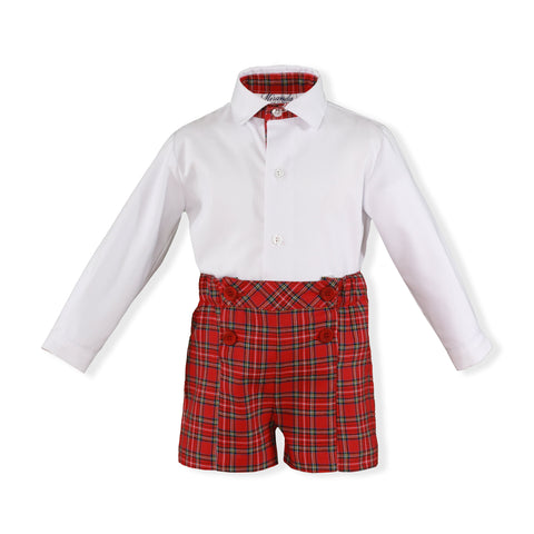 Boys Red plaid short and long sleeve shirt set