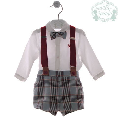 Boys  plaid short with burgundy suspenders and long sleeve whiteshirt with bow tie