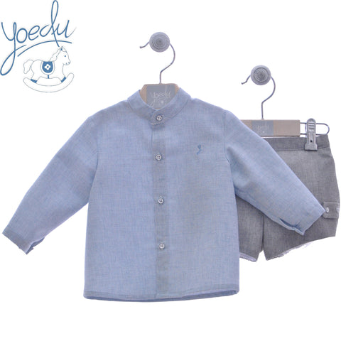 Boys long sleeve shirt with mao collar and gray short pants