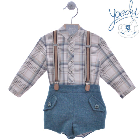 Boys plaid long sleeve shirt mao collar and green short pants with suspenders
