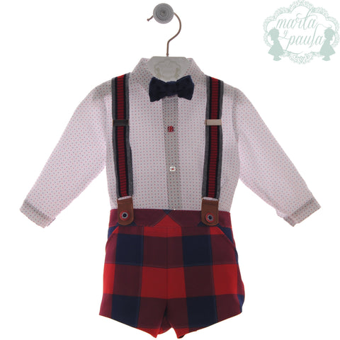 Boys red plaid short with suspender and long sleeve polka dots shirt and bow tie