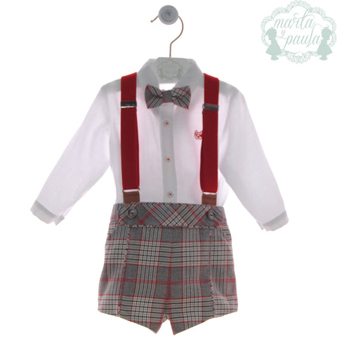 Boys plaid short pants and red suspenders with long sleeve shirt with bow tie
