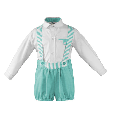 Baby boys stripes suspender short with long sleeve shirt set