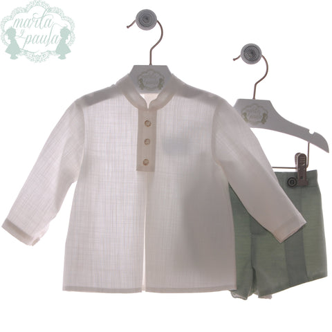 Boys mao collar long sleeve white shirt with light green short pants