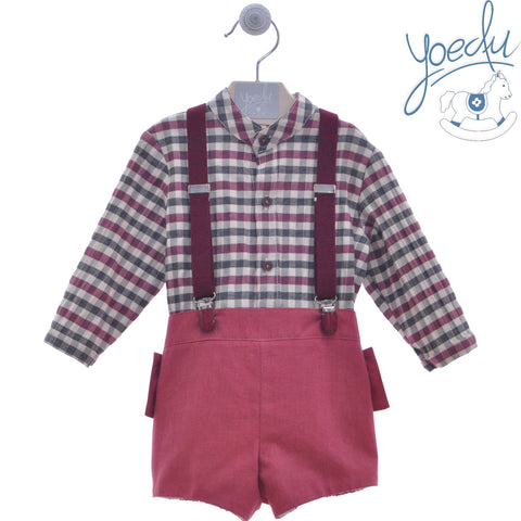 Boys burgundy plaid and mao collar long slevee shirt with short and suspenders