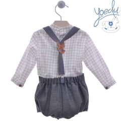 Boys plaid mao collar long sleeve shirt with short pants and suspenders