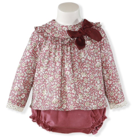 Baby Girls floral print shirt and jam pant