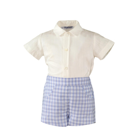 Baby boys plaid short  and white shirt set