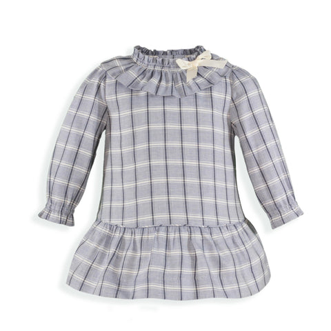 Girls plaid low waist long sleeve dress