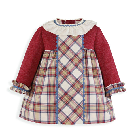 Baby Girls Knit and burgundy plaid dress