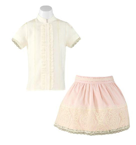 Girls lace skirt with ivory blouse