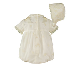 Baby lace ceremony romper with bonnet