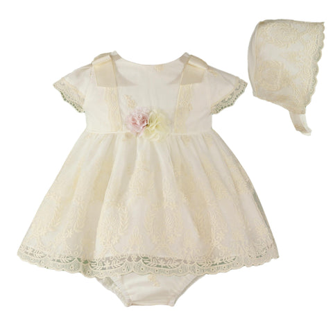 Baby girls lace and floral appliques dress with bloomer and bonnet set