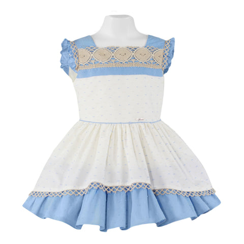 GIRLS WHITE DRESS WITH  BLUE DETAILS AND RUFFLES