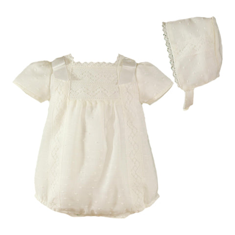 Baby lace and ribbon bows romper with bonnet
