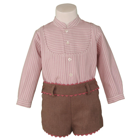 Baby Boys stripe shirt with mao collar and short