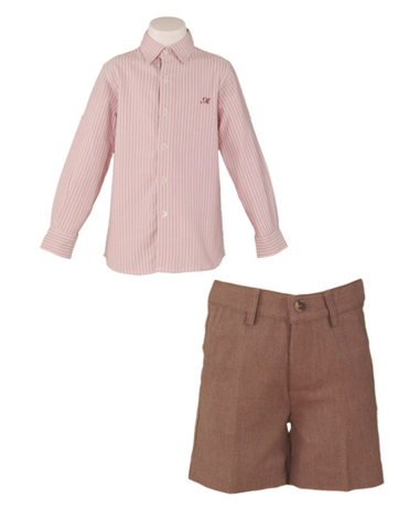 Boys stripes long sleeve shirt and brown short set