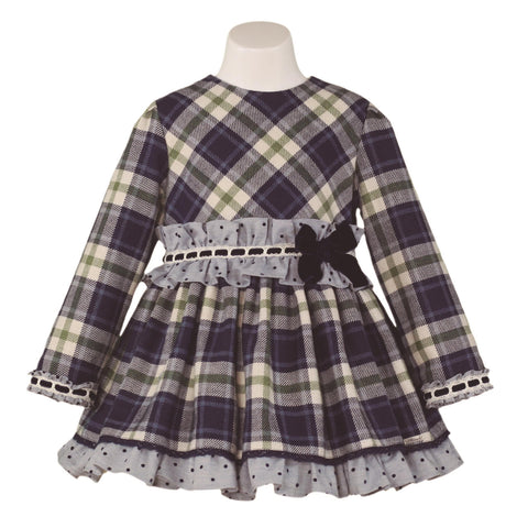 Girls  blue green plaid long sleeve dress